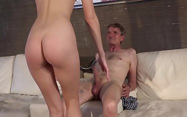 Young girl swallows grandpa's cum after a good fuck