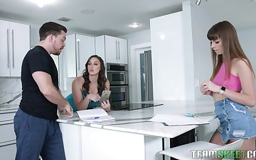 Horny babes Melanie Hicks and Alex Blake share a cock and a cumshot