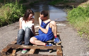 Teen brunette Lucy wants cum on her tits outdoors