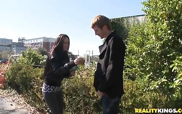 Hot seduction of some pretty babes on the street