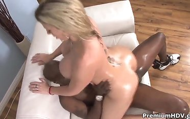 Huge tittied Sara Jay fucks with black male