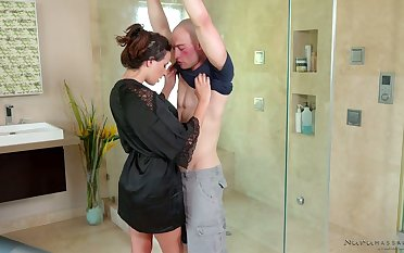 Extremely lubed beautiful masseuse Ashley Adams is poked reverend style
