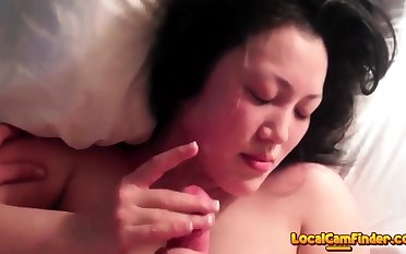 Cute Chinese girl gets along to cum out