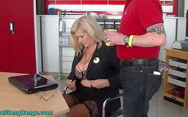 Wild huge breasted warehouse journo Marina Montana is fucked by studs