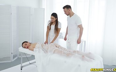 During the knead Izzy Lush gets her cunt pleased by her masseur