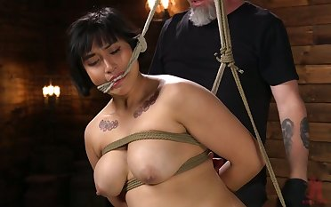 A bit chubby busty whore Mia Little gets her pussy drilled hard with toys