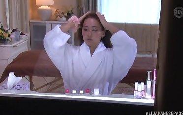 Japanese amateur brunette oiled regarding before a naughty fuck