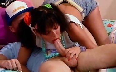 Retro action with brunette teen pounded by a big undaunted cock