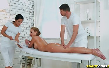 Oiled and sexy Marilyn Crystal gets her cunt pounded by her horny masseur