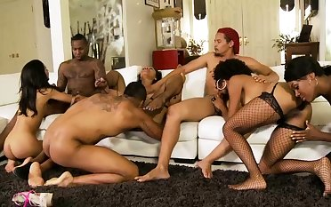 X-rated battalion in black stockings swept off one's feet pussy with an increment of fuck heavily